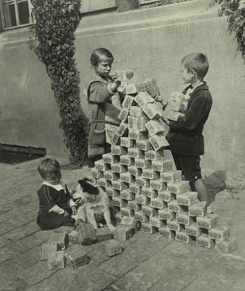 German Children Playing With Money