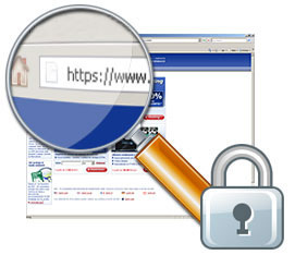 Look for https in the address bar and a lock to verify website security